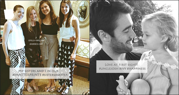 16/07/2015: Miss Emily VanCamp est actuellement chez elle, au Canada, pour profiter de sa petite famille. Elle a posté deux photos sur twitter, une avec ses trois soeurs et une autre avec un de ses petits neveux. - Trop mignons !