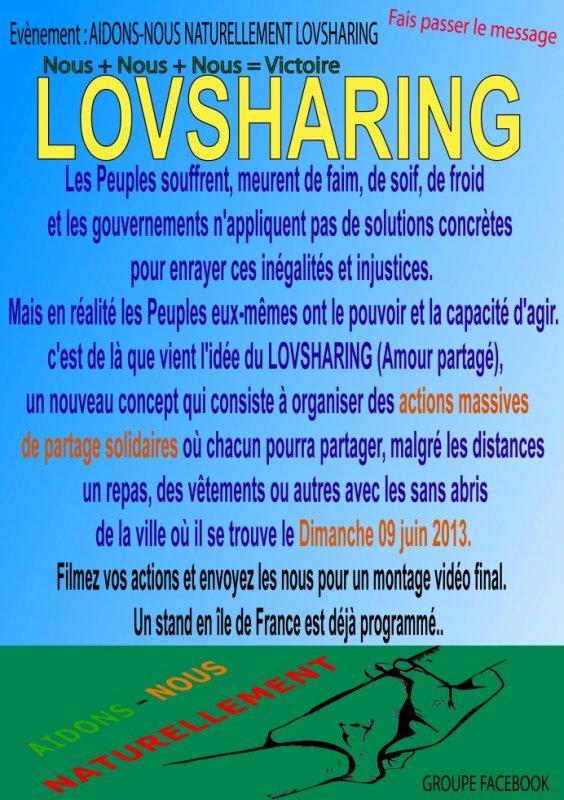 rendez-vous le 09 juin 2013 pour un LOVSHARING, un partage international