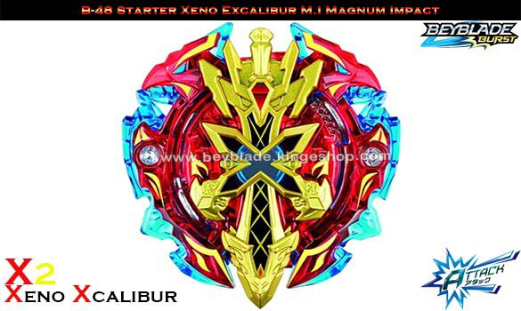 B-48 Toupie Starter Beyblade Burst Xeno Xcalibur M.I Magnum Impact – Sword Launcher Included