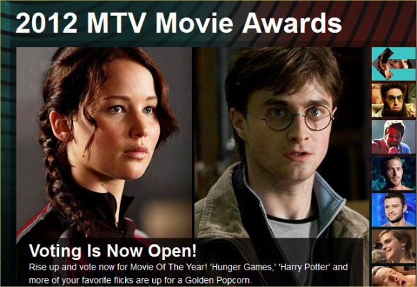 MTV Awards 2012 : Harry Potter nommé six fois. Harry Potter, nous risquons d'en entendre parler encore longtemps. La preuve, un peu moins d'un an après la sortie du huitième film le cast figure toujours parmi les nominés et je vous énonce ici les différantes catégories : Film de l'Année, Meilleur Baiser à l'Écran (Rupert Grint et Emma Watson), Meilleure Performance Féminine (Emma Watson), Meilleure Performance Masculine (Daniel Radcliffe), Meilleure Bataille (Daniel Radcliffe et Ralph Fiennes) et Meilleur Cast (Daniel Radcliffe, Rupert Grint, Emma Watsonet Tom Felton). Comme vous pouvez le constater, Rupert n'aura pas de récompense personnelle cette fois encore et c'est bien dommage. Je rajoute que pour voter il faut s'inscrire sur le site.