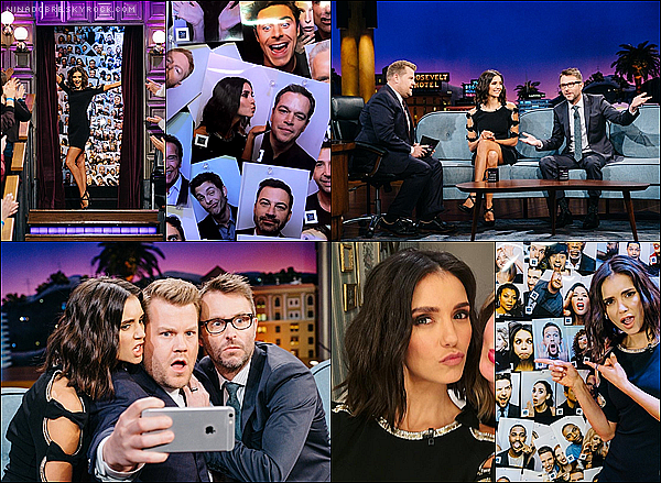 . 19/01/17 : Nina Dobrev était dans l'émission The Late Late Show With James Corden ! .