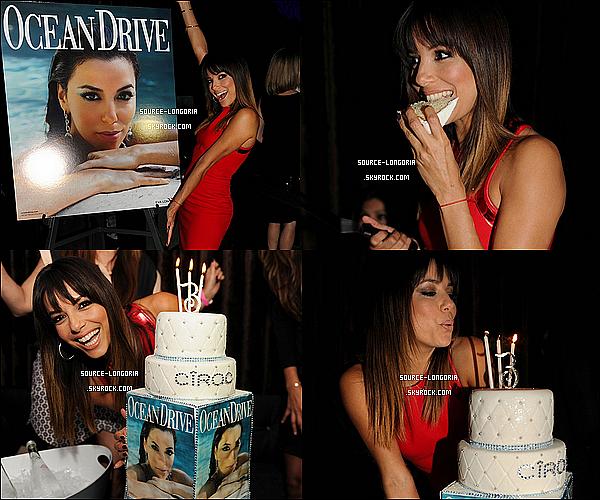 - 14/03/14 : Eva a célébré le nouveau numéro du magazine Ocean Drive ainsi que son anniversaire à Miami. -