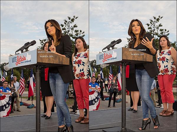 - 22/10/14 :  Eva Longoria  était présente pour soutenir candidate aux élections pour le Sénat Américain au Texas . -