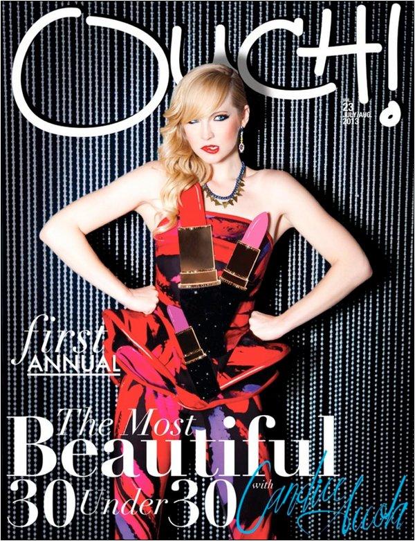 La sublime Candice fait la couverture du Ouch Magazine d'Août 2013.