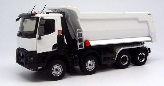 nouveautés de eligor: renault truck k520 xtrem 8x4 meiller blanc 1/43 réf: 115767