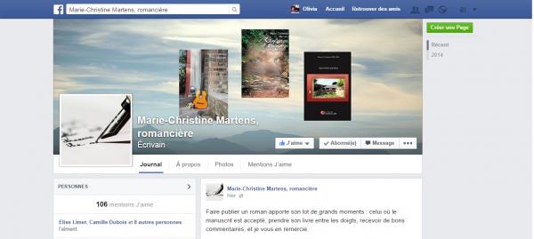 Page Facebook Olivia Martens écrivain et Marie-Christine Martens