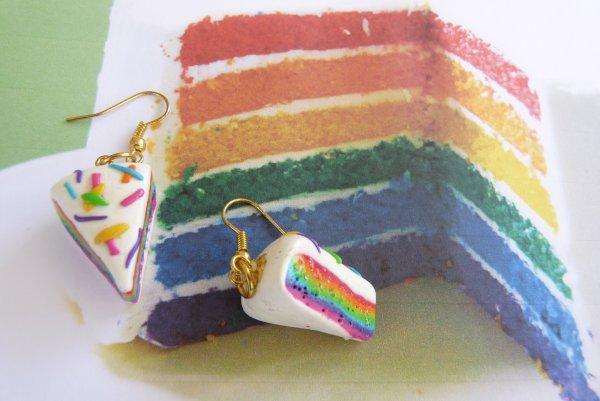 Boucles d'oreilles Rainbow Cake