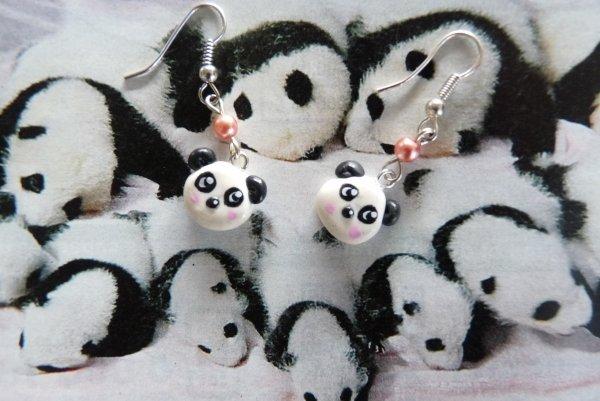 Boucles d'oreilles Pandas Kawaii