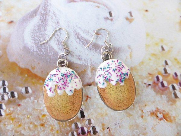 Boucles d'oreilles madeleines paillettes