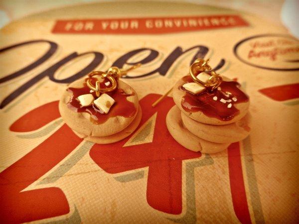 Boucles d'oreilles pancakes au sirop d'érable