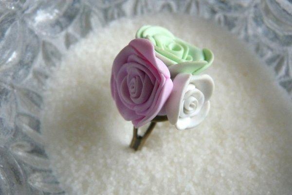 Bague trio de roses