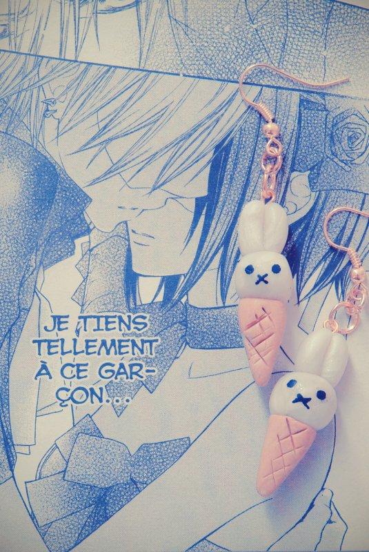 Boucles d'oreilles glaces lapin