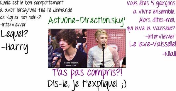 Dialogue entre Niall/Interviewer et Harry/Interviewer :) Aimez-vous? Avez-vous compris? Si non! Je vous explique! ;)