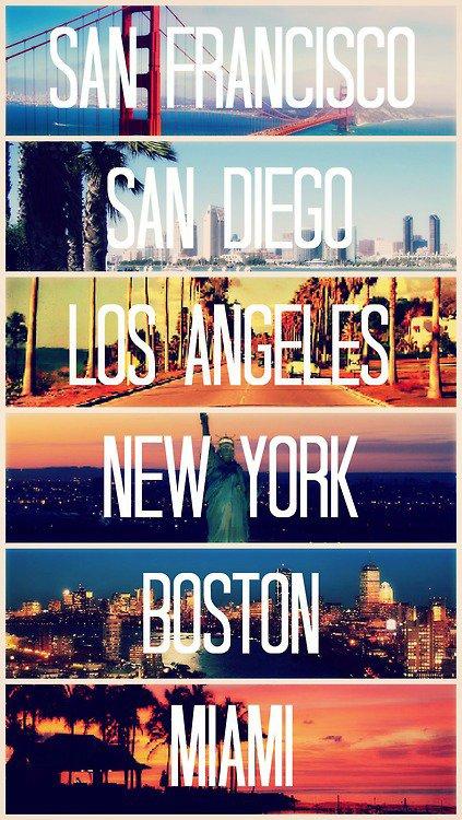 San Francisco, San Diego, Los Angeles, New York, Boston, Miami
