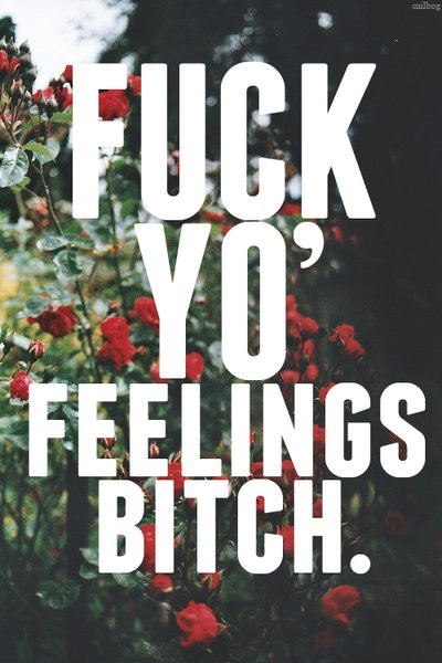 Fuck yo' feelings bitch.