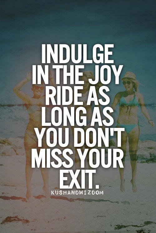 Indulge in the joy ride as long as you don't miss your exit.