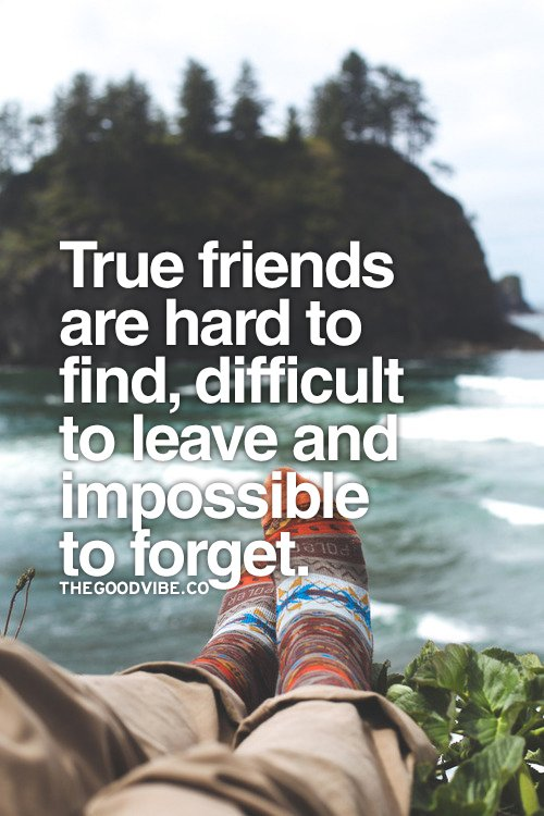 True friends are hard to find, difficult to leave and impossible to forget.