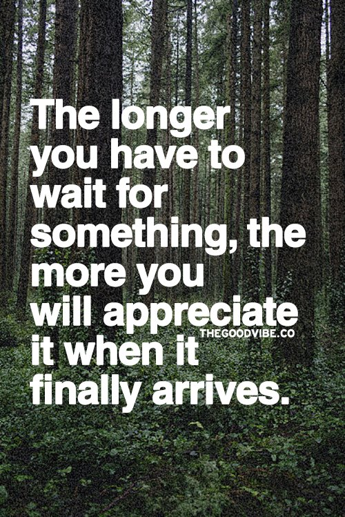 The longer you have to wait for something, the more you will appreciate it when it finally arrives.