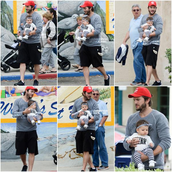 __Ce 17 mai 2015, Le beau Ashton Kutcher a été vu à Carpinteria en Californie avec sa petite fille Wyatt. En tout cas je les trouve très mignon. Nous voyons bien à travers ces clichés qu'Ashton aime plus que tout son bébé.