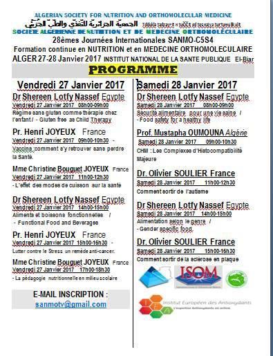 Programme du 28' séminaire de formation et de perfectionnement en nutrition et en médecine orthomoléculaire du 27 au 28 janvier 2017 à l'institut national de la santé publique à El Biar - Alger -