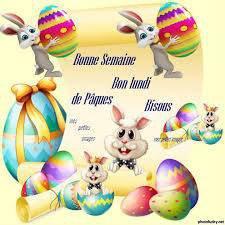 je vous souhaites de bonne fêtes de pâques soyez sage les enfants la cloches va bientôt passer