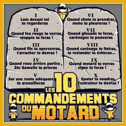 Les 10 commandements du Motard