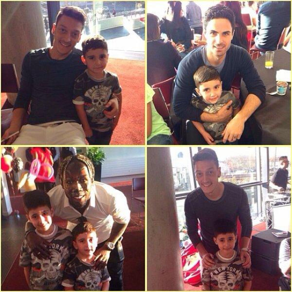 Mesut Özil et d'autres coéquipiers à l'anniversaire d'Elias le fils de Ludivine et Bacary Sagna à l'Emirates Stadium (09.03.14)