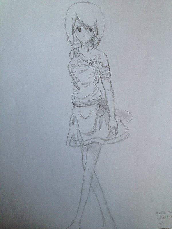 Populaire fille à la robe plissée - saku-tomo(dessin manga) EC83