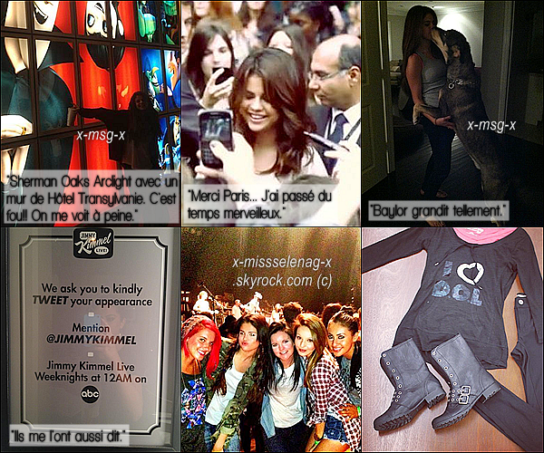+ October 4th  ;   Miss Gomez a été vue quittant le magasin 'Sky High Sports' à Woodland Hills. + Rattrapage des photos personnelles de Selena postées par elle même via ses comptes Twitter, PostCard et Facebook. +