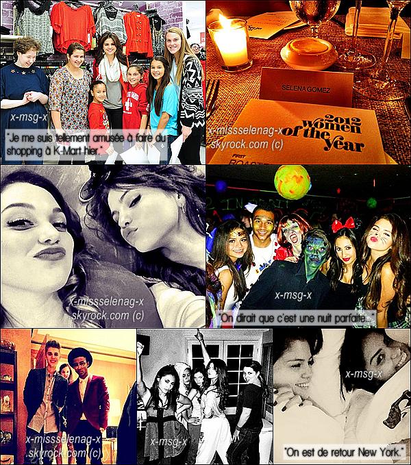 + November 11th  ;   L'écharpe rouge fait son grand retour! Selena a été vue quitter son hôtel new yorkais deux fois; une fois le matin et une autre fois dans l'après-midi. Enfin, elle s'est rendue au magasin «K-Mart» où elle a rencontré des fans avec qui elle les a aidé à faire du shopping de sa marque Dream Out Loud. Ce même jour, Jelena se sont vus pour discuter. +