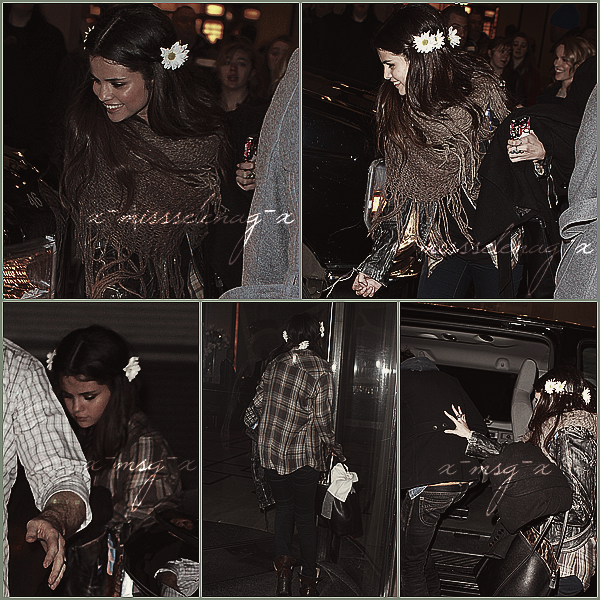 + January 19th  ;   Selena posant avec des fans à New York, pour ensuite se rendre au 3ème Concert Acoustic Annuel d'UNICEF avec son groupe. Elle a ensuite quitté l'endroit avec Bridgit Mendler, Nat Wolff, Alex Wolff et son beau-père, qui était le BestBuy Theatre, à New York City. +