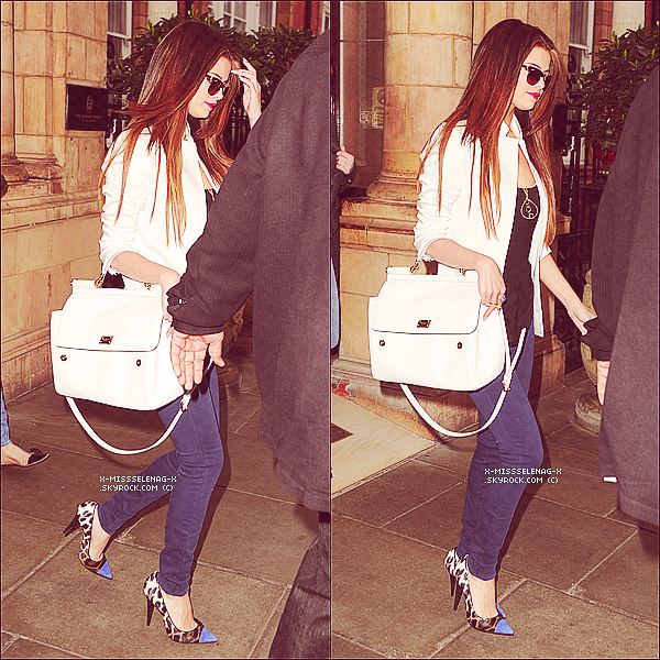 + May 22nd  ;   Selena sortant de son hôtel à Mayfair pour se rendre aux studios de «BBC Radio 1». Elle a aussi participé à l'émission radio «Breakfast Show with Nick Grimshaw» à Londres. +
