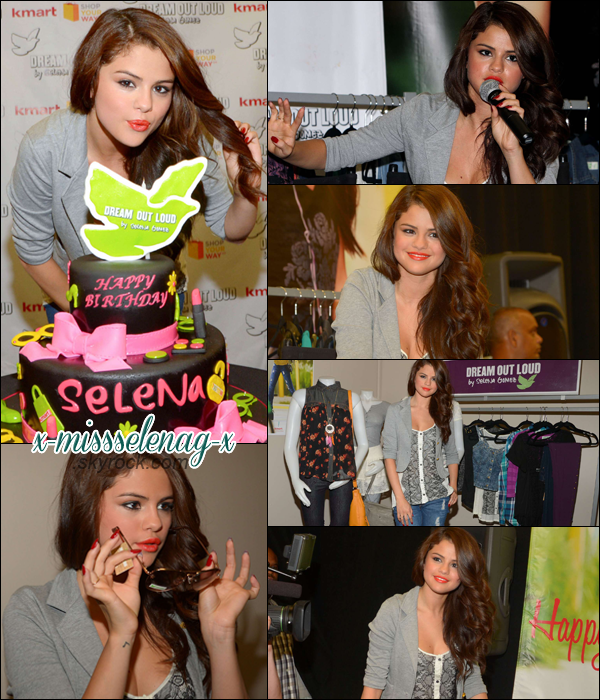 + July 24th  ; Sel arrivant et quittant son hôtel à New-York puis elle a fêté son anniversaire lors du lancement de la collection d'automne de Dream Out Loud. Selena était a l'émission The Tonight Show avec Jay Leno aussi où elle a pu performer son dernier single Slow Down.  +