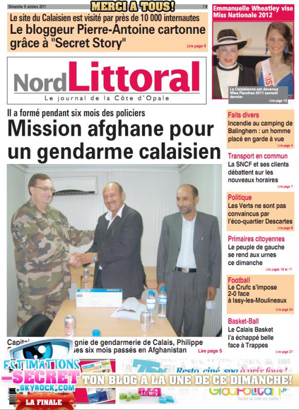 """Merci à Tous! Le blog à la """"Une"""" de son journal Locale!"""