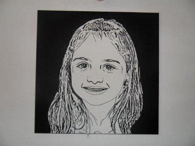 portrait sur toile en noir et blanc