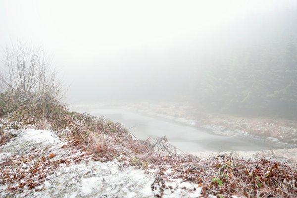 Lac gelée et plein de brume.(l'hiver)