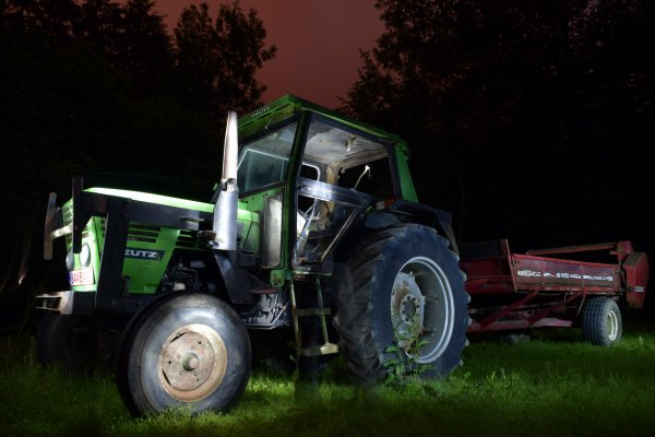 Making-off du light painting. (tracteur)