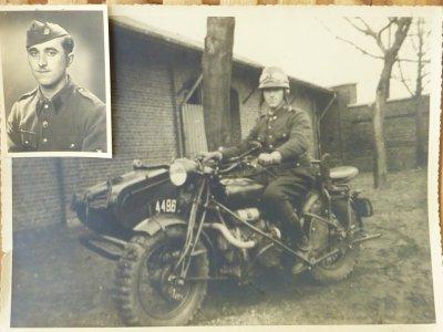 Photo de Mr Schumacker prisonnier de Guerre du 6 Février 1943 . Chasseur Ardennais, Bataillon Moto.