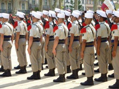Eléments du 4eme Régiment Etranger stationné au Quartier Danjou à Castelnaudary .