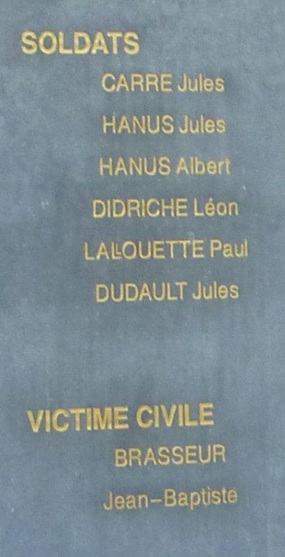 Noms sur la plaque commémorative.