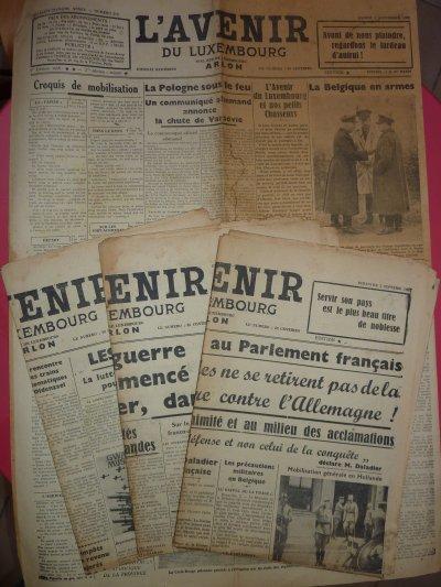 Différents journeaux Belges, période 1939- 40- 44- 45.