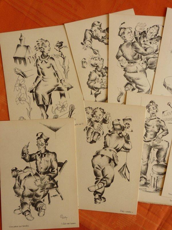Nouvelles trouvailles.......Un jeu de cartes postales humoristiques et un sac sauvés des emcombrants ce matin.....