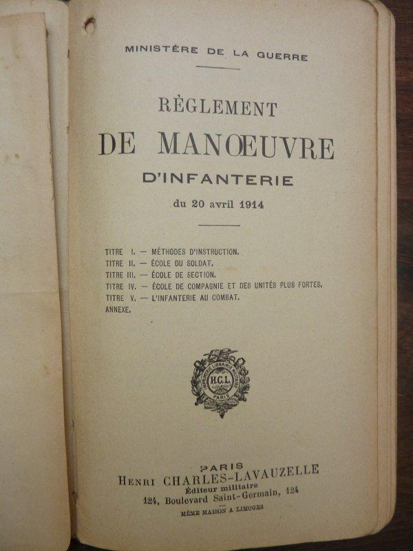 Réglement étant attribuer au 87ème Régiment d'Infanterie, ayant combattu à Robelmont, le 22 aout 1914.