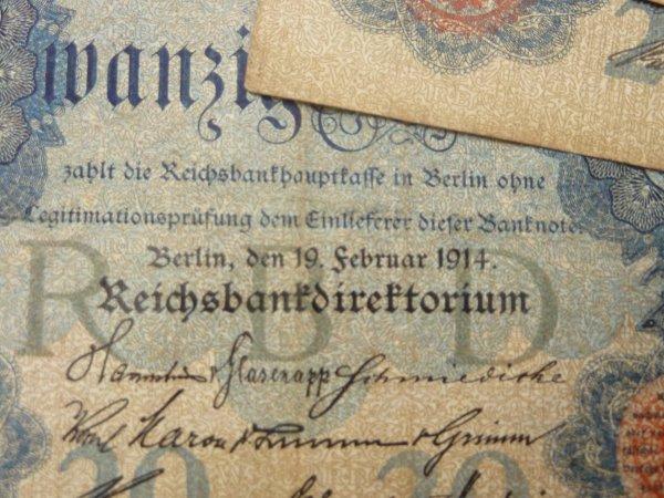 Différents billets de banque Allemands de 1908,1910, et 1914 ayant étés récupérés dans la région.