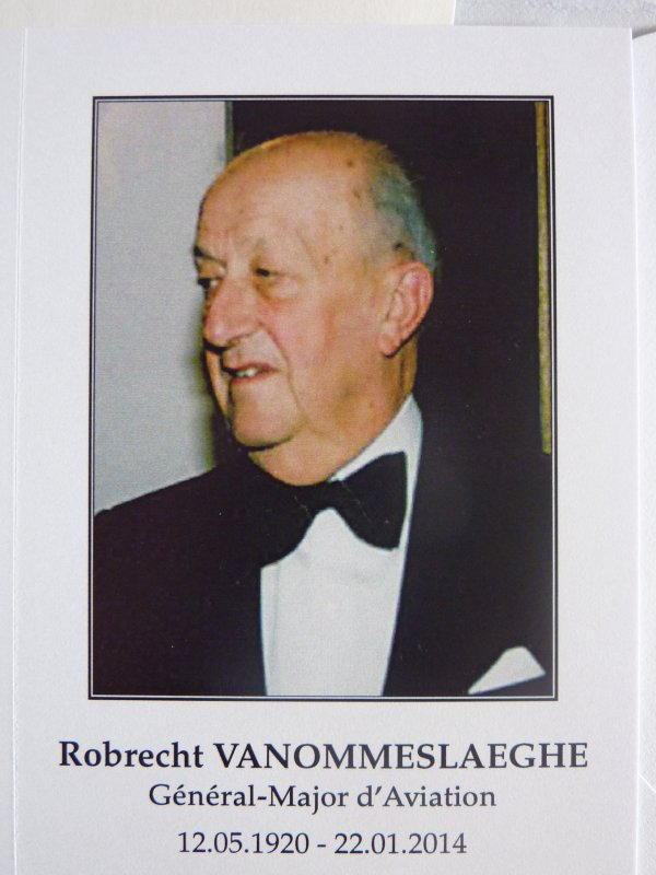 Décès du Général-Major d'Aviation Robrecht Vanommeslaeghe.