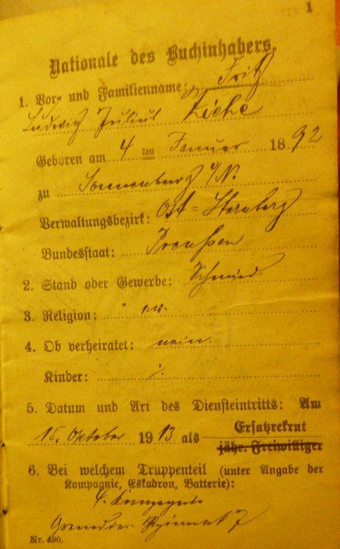 Militärpass du Grenadier N° 7 ayant combattu dans la région.
