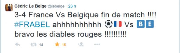 Cédric fête la victoire des Belges