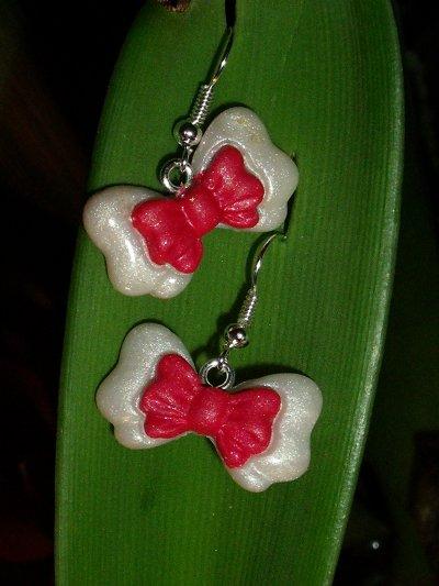 boucles petits noeuds rouge et blanc !
