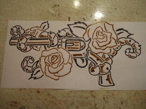 "marqueterie "" arme à fleur """