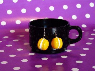 """Boucles d'oreilles Macarons """" Citron """""""